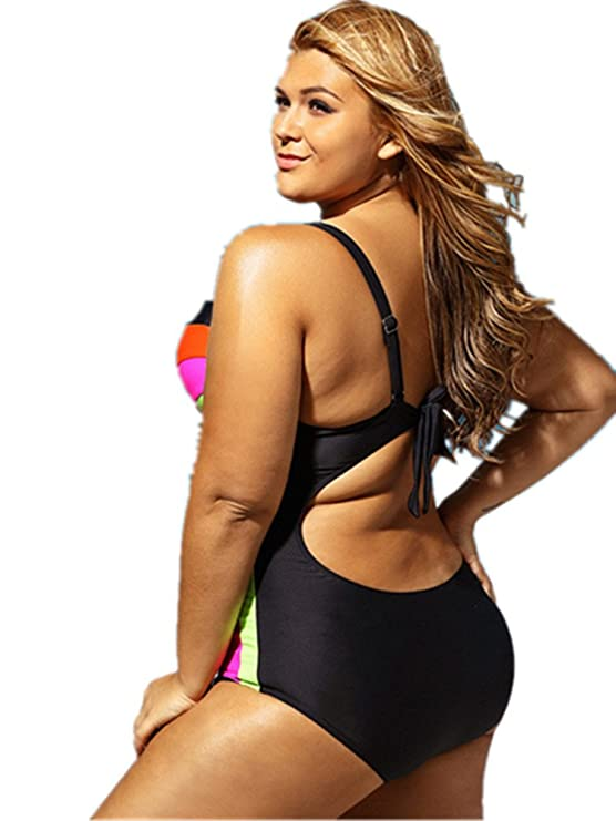 4896999976 Amazon.com  Prime Leader Plus Size Strapped Color Splice Two Piece Swimwear  For Women  Clothing