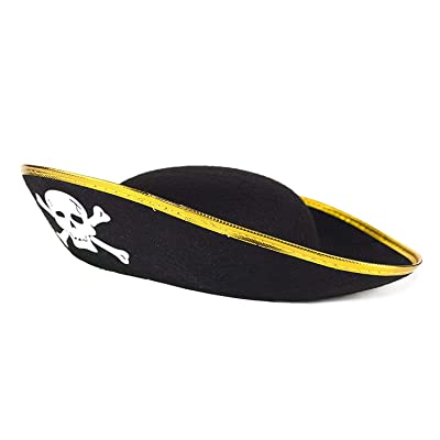 Fun Central Pirate Skull Hat for Kids - Pirate Themed Party & Halloween Costume Accessories - Black and Gold: Toys & Games