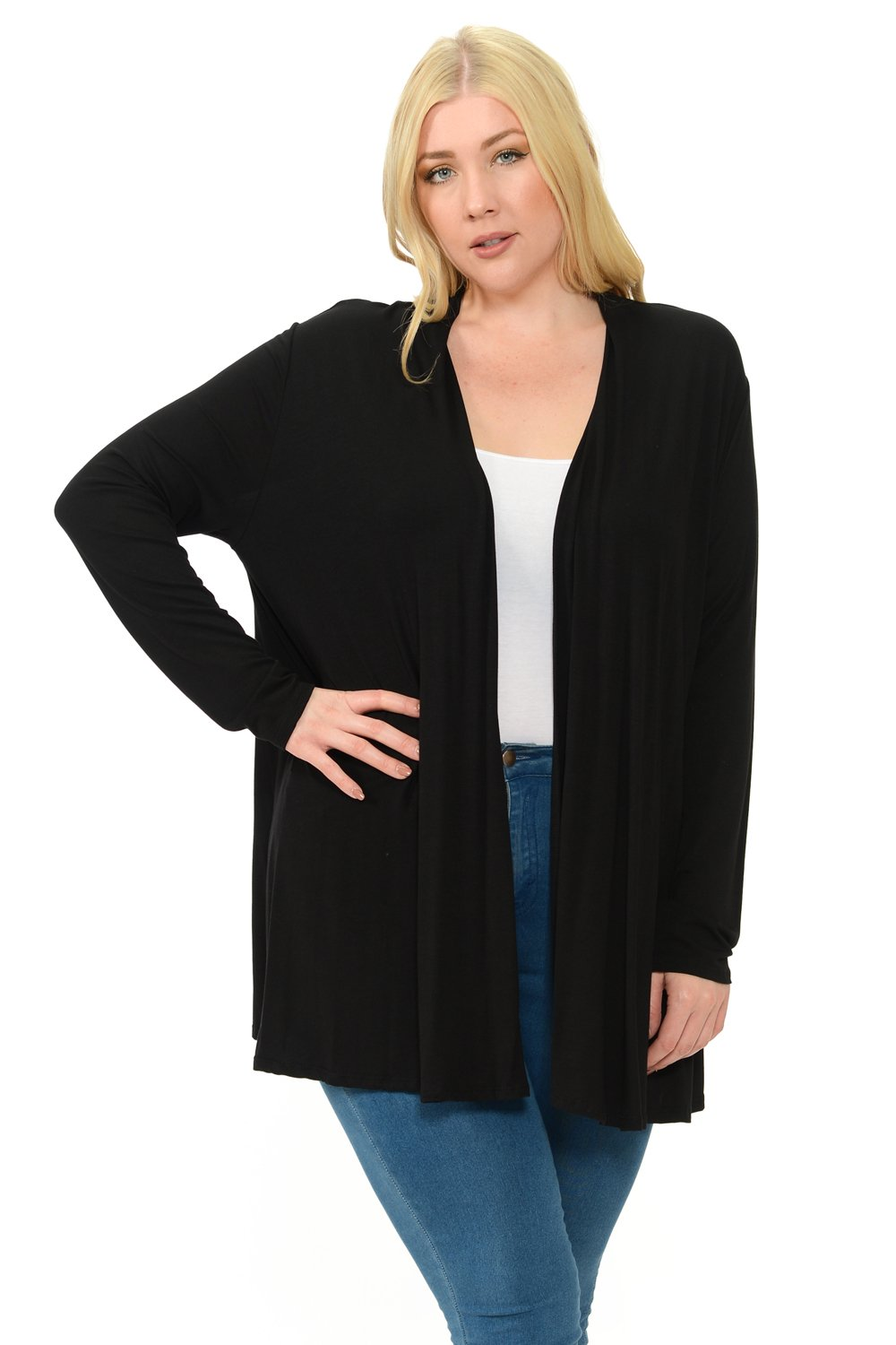 Pastel by Vivienne Women's Long Sleeve Jersey Plus Size Cardigan XXX-Large Black