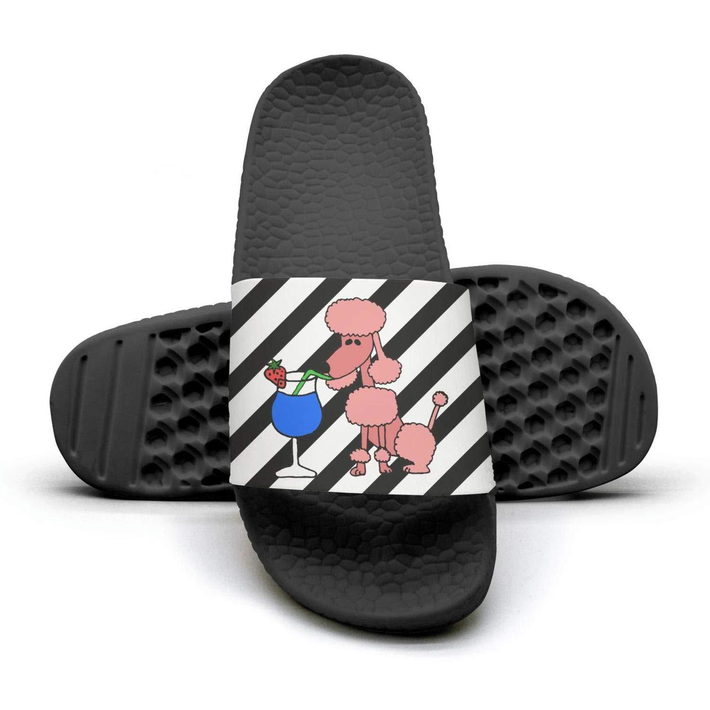 Cool Funny Pink Poodle Dog Drinking flip flops Slippers for Men