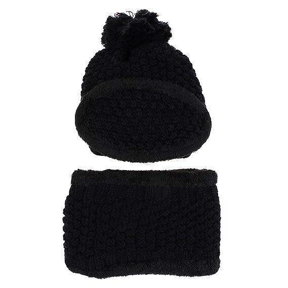 MagiDeal Women Winter Knitted Protection Ear Cap Rider Beanie Hat - black 2de5a33b741