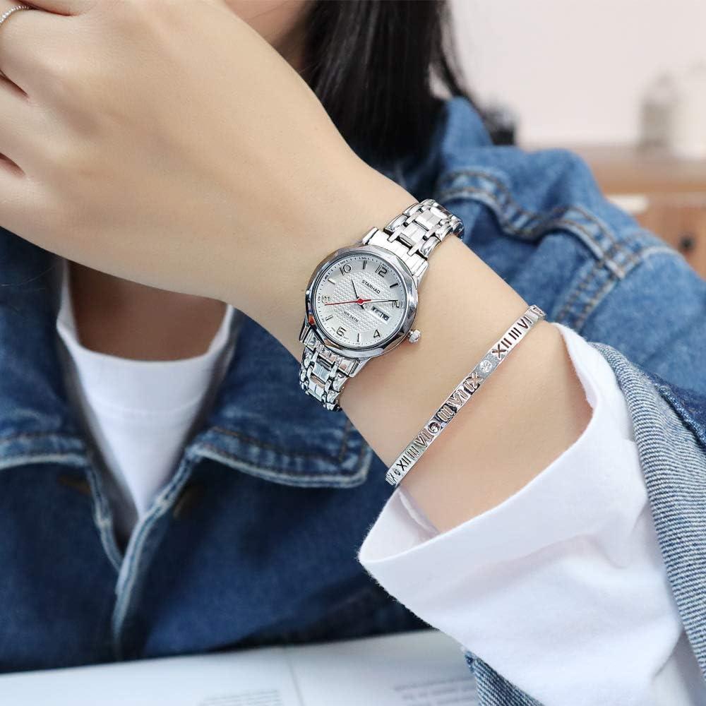ASBIAOReloj para Mujer atmosférico Calendario Impermeable Reloj de Cuarzo Luminoso Tendencia Reloj con Correa de Acero Mujer