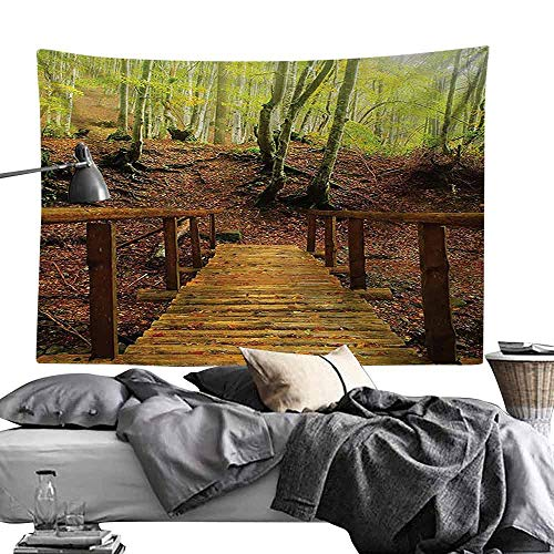 Commemorative Tapestry Apartment Decor Collection Weathered Wooden Bridge Over River Leads to a Footpath Between Birch Trees in Autumn Bedroom Home Decor W24 x L20 Green Peru