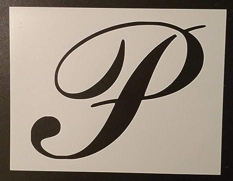 Amazon.com: Custom Stencil Large Big Script Cursive Letter P 11