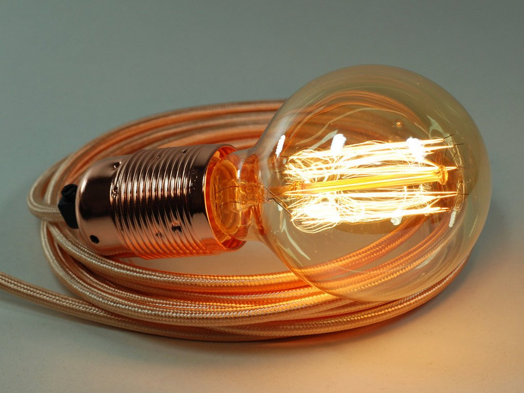 4m Rose Gold Fabric Cable Plug In Pendant Light E27 Copper Fitting Re Wiring Globe Edison Bulb Lighting