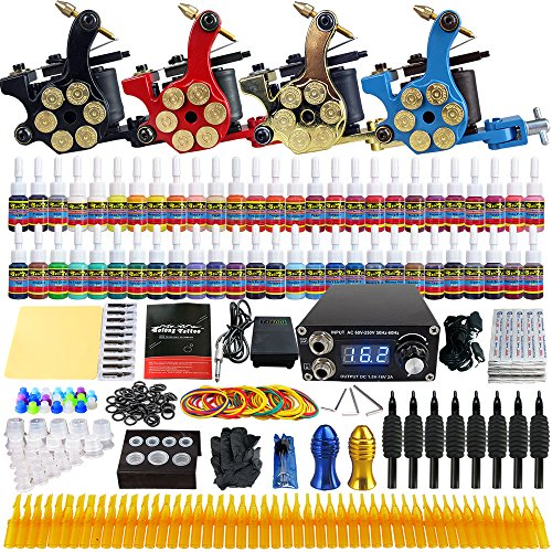 Solong Tattoo Complete Tattoo Kit 4 Pro Machine Guns 54 Inks Power Supply Foot Pedal Needles Grips Tips TK458 by Solong Tattoo
