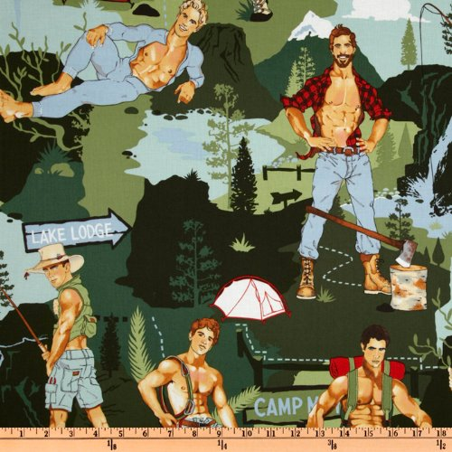 Henry Fabric Alexander (Alexander Henry Pin Ups The Outdoorsy Type Green Fabric By The Yard)
