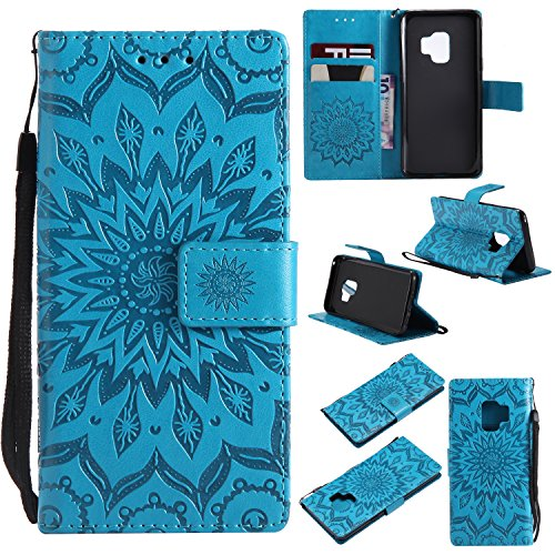 Smytu Galaxy S9 Wallet Case, Premium Emboss Sunflower Flip Wallet Shell PU Leather Magnetic Cover Skin with Wrist Strap Case for Samsung Galaxy S9(Blue)