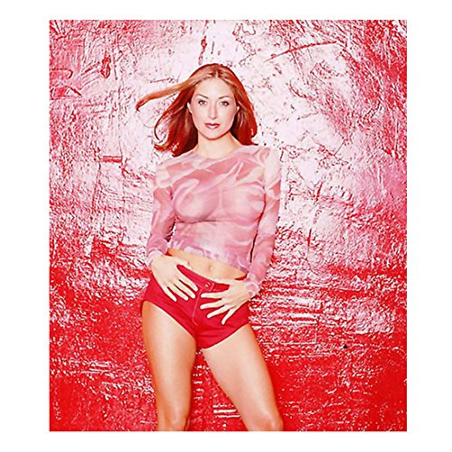 Sasha Alexander Standing by Red Wall in Pink See Through 8 x 10 Inch Photo