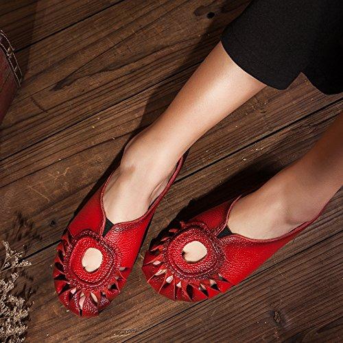 SCLOTHS Chanclas Mujer Retrostyle Flores cuero artificial calados cómodo flat Baotou Il rosso