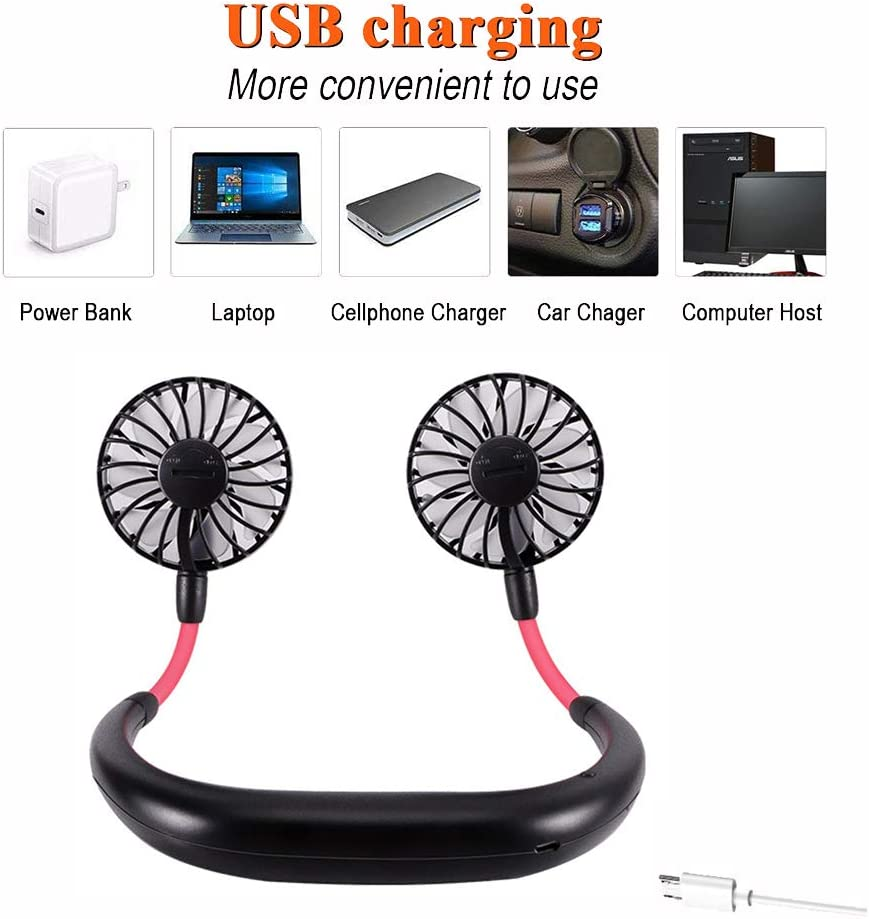 Fcloud Hand Free Personal Fan Mini 7 Blades Fan Headphone Design USB Rechargeable for Home Office Outdoor Travel