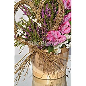 Rustic Country Inspired Pink Alstroemeria Basket Floral Display with Heather and Stephanotis 4