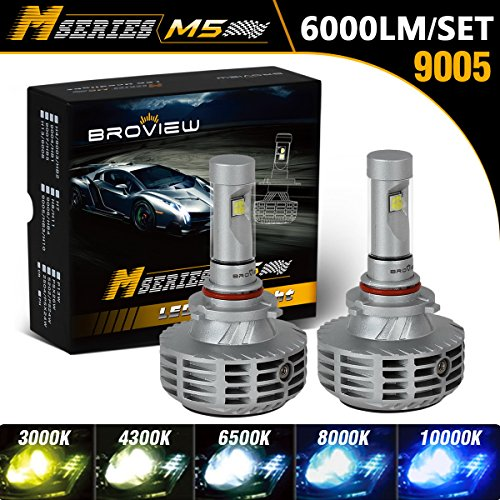 BROVIEW M5 LED Headlight Bulbs w/Clear Focused Beam All in One Kit - 9005 HB3 H10 40W 8,000LM 7000K Cree w/Fan Headlamp Conversion Replace HID&Halogen -(2pcs/set)