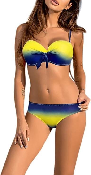 España Sexy Style Mujeres Traje de baño Bikini Set Vendaje Push-Up Acolchado Traje de baño Ropa de baño, 2 Piezas Set Ropa Interior: Amazon.es: Ropa y accesorios