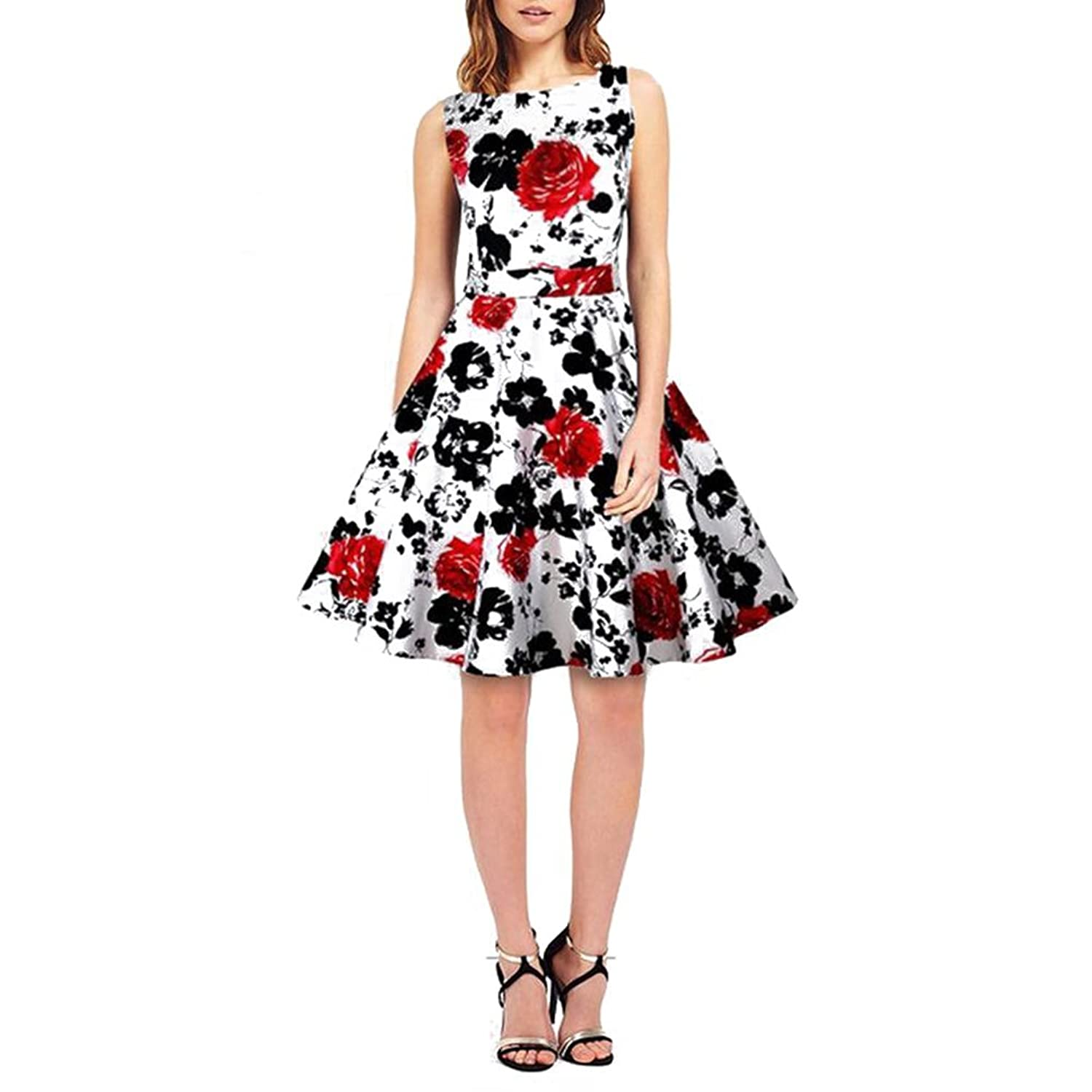 Highdas Damen Retro Vintage Party Cocktailkleider Floral Sommerkleid ...