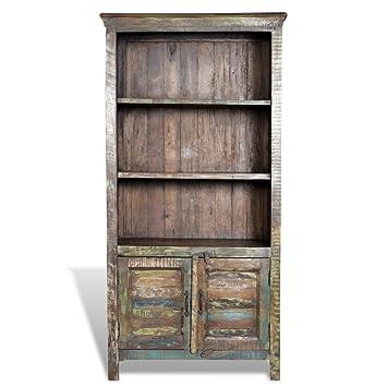 Anself Reclaimed Wood Bookshelf Bookcase 3 Shelves 2 Doors