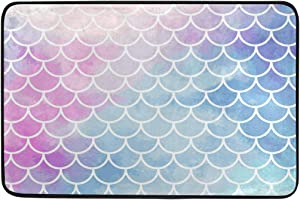 Magic Pink-Blue Mermaid Scales Doormat Galaxy Unicorn Non Slip Washable Indoor Outdoor Entrance Bathroom Door Floor Mats Home Decor, 23.6 x 15.7 inch