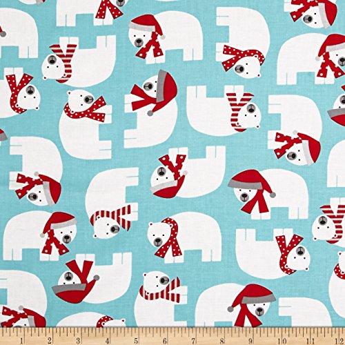 Kaufman Jingle Polar Bears Aqua Fabric By The Yard