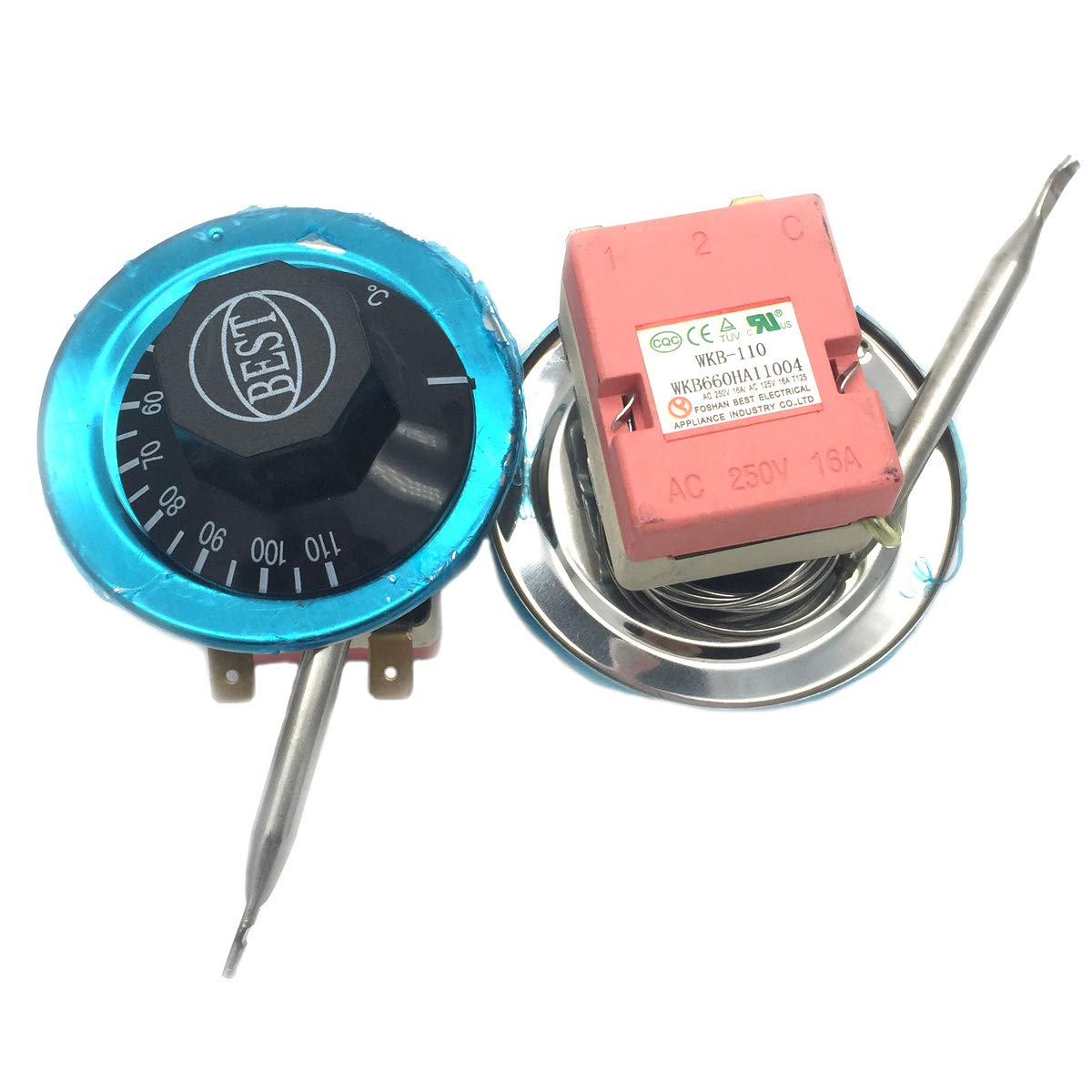 COMOK 30-110 Degree Adjustable Temperature Controller AC 250V 16A Capillary Thermostat Oven Temperature Controller 2PCS