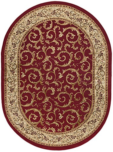- Westminster Transitional Oriental Red Oval Area Rug, 5' x 7' Oval