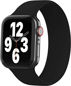 WASPO Solo Loop Band Compatible with Apple Watch Band 38mm 40mm 42mm 44mm, sport Elastic Silicone Bands with No clasps or buckles Compatible for iWatch Series 6/SE/5/4/3/2/1(42mm/44mm-M, Black)