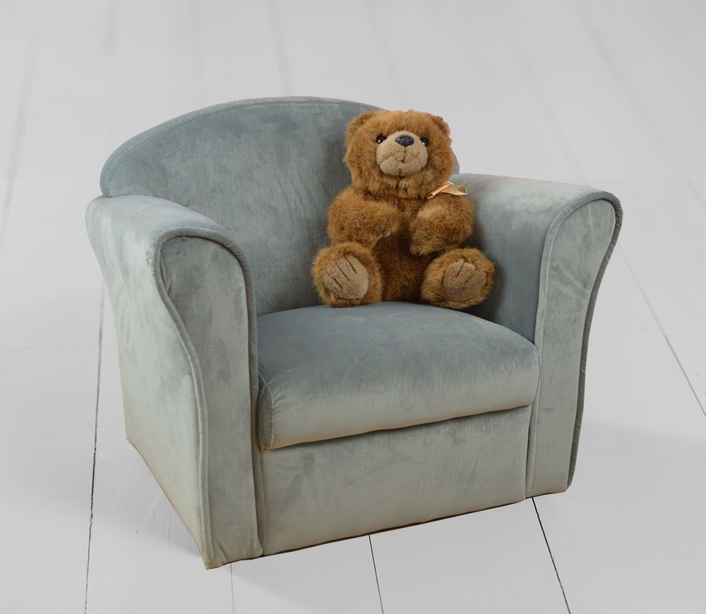Children's Velvet Armchair, Grey Unbranded