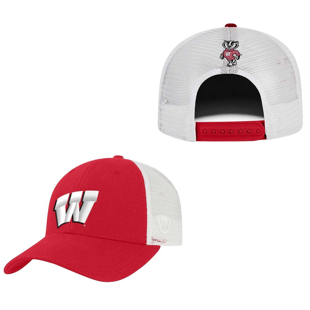 Team Color, Top of the World Wisconsin Badgers Adult NCAA Team Spirit Relaxed Fit Meshback Hat