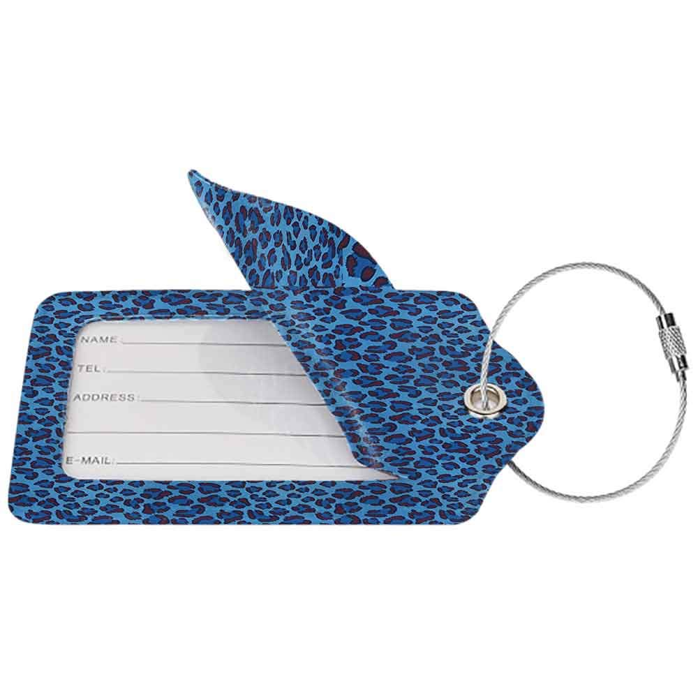 Durable luggage tag Animal Print Collection Leopard Animal Print Stylized Artistic Design Creative Contemporary Artwork Unisex Blue W2.7 x L4.6