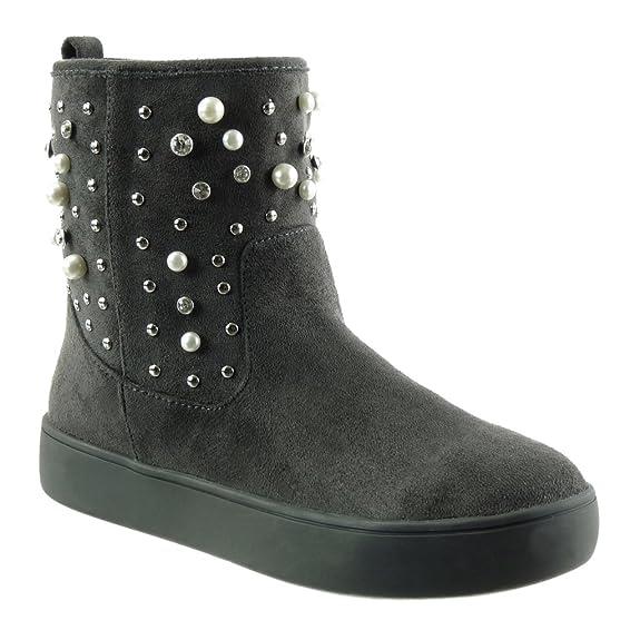 Angkorly - Zapatillas de Moda Botines zapatillas de plataforma Botas de nieve mujer perla tachonado strass Talón Tacón ancho 3 CM - plantilla Forrada de ...