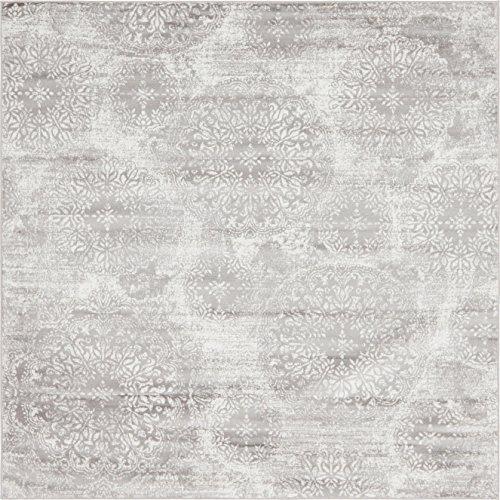 Unique Loom 3141488 Area Rug, 8' x 8' Square, Light Gray (Gray Square Rug)