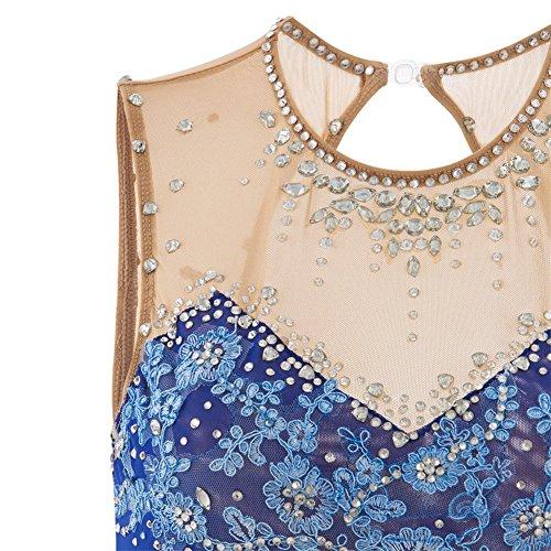 Main Manches De Costume À Femmes amp;m Compétition Robe La Blue Heart Pour Patinage Rhinestone Artistique Les Filles Applique Sans Glace EOqga8