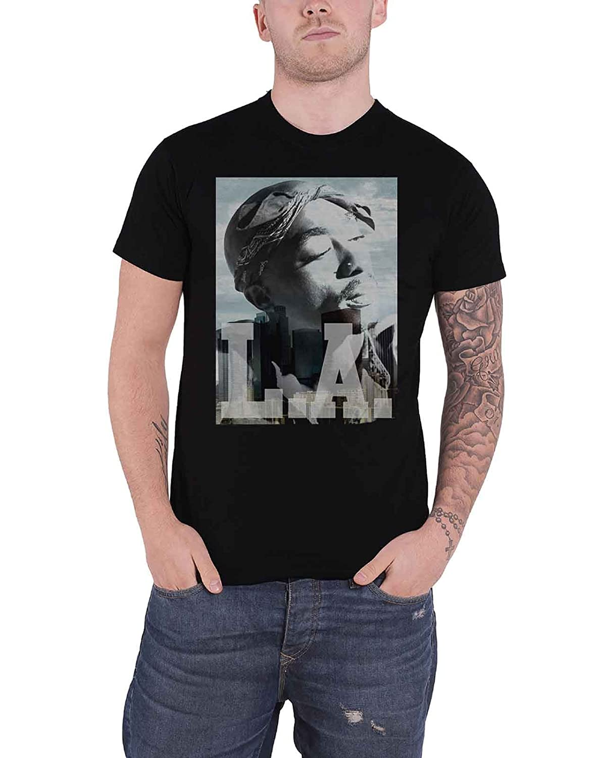 d0f329018 Amazon.com: Tupac T Shirt La Skyline Portrait 2Pac Logo Official Mens  Black: Clothing