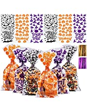 Aneco 150 Pack Halloween Candy Bags Cellophane Snack Bags Halloween Treat Bags Cookie Bags with Twist Ties for Halloween Party Favor