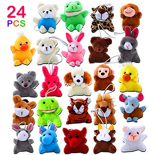 ThinkMax 24 Pack Mini Animal Plush Toy Assortment for Kids Party - Mini Toy Stuffed