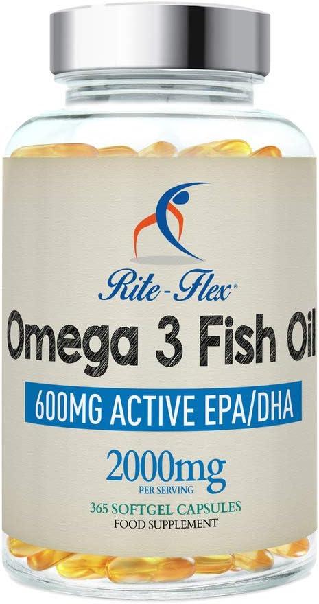 Omega 3 Olio di Pesce 2000mg 365 Gel Morbido Capsule da Rite-Flex Grassi Acidi Omega 3