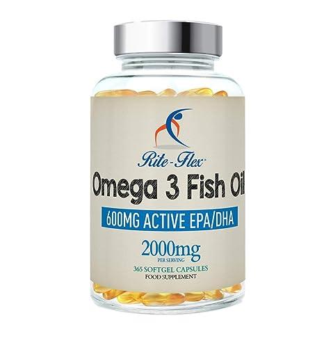 Omega 3 Aceite de Pescado 2000 mg 365 Soft Gel cápsula de Rite Flex (1000