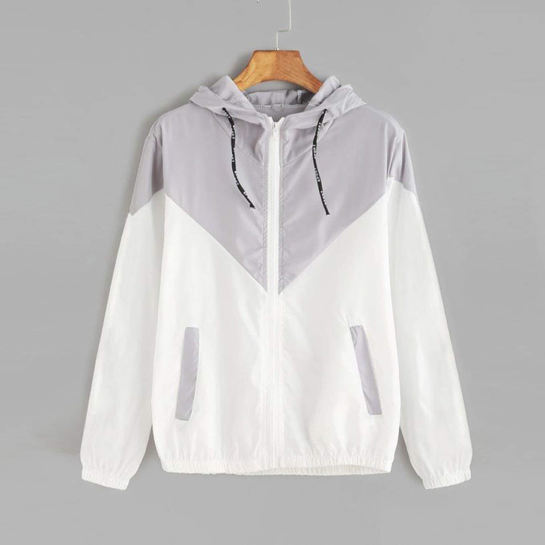 SATOSHI DUN Basic Jackets Zipper Pockets Casual Long Sleeves Coats Two Tone Windbreaker Jacket,Blue,M,