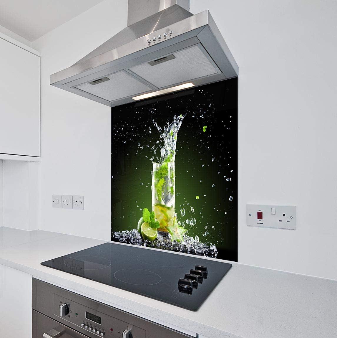 Printed Kitchen Glass Splashback Heat Resistant Toughened Glass Lime /& Ice Design 40 x 60cm - Mirror Screw Fixing