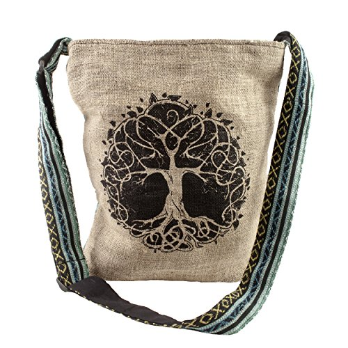 (Casual Lightweight Hemp Tree of Life Purse crossbody bag sling bag boho hippie)
