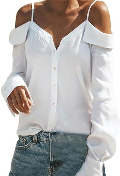 Mujer Blusas Cuello en V Color Puro Camisas de Mangas largas Camiseta Fuera del Hombro Tirantes Tops: Amazon.es: Ropa y accesorios