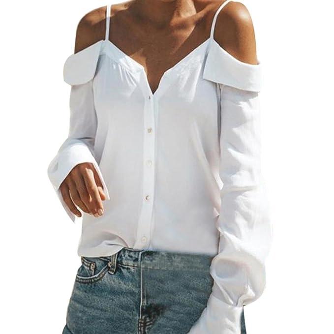 Mujer Blusas Cuello en V Color Puro Camisas de Mangas largas Camiseta Fuera del Hombro Tirantes
