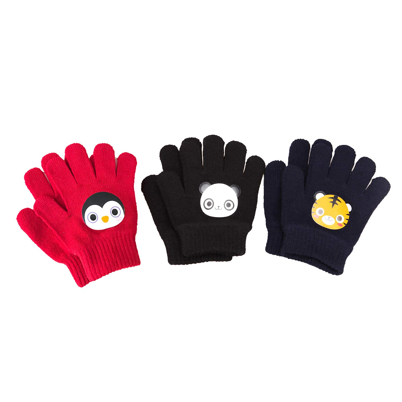 7eddacfec ... Folamer Warm Knit Gloves Magic Kids Boys Girls Winter Gloves, 3 Pairs 3  Pairs ...