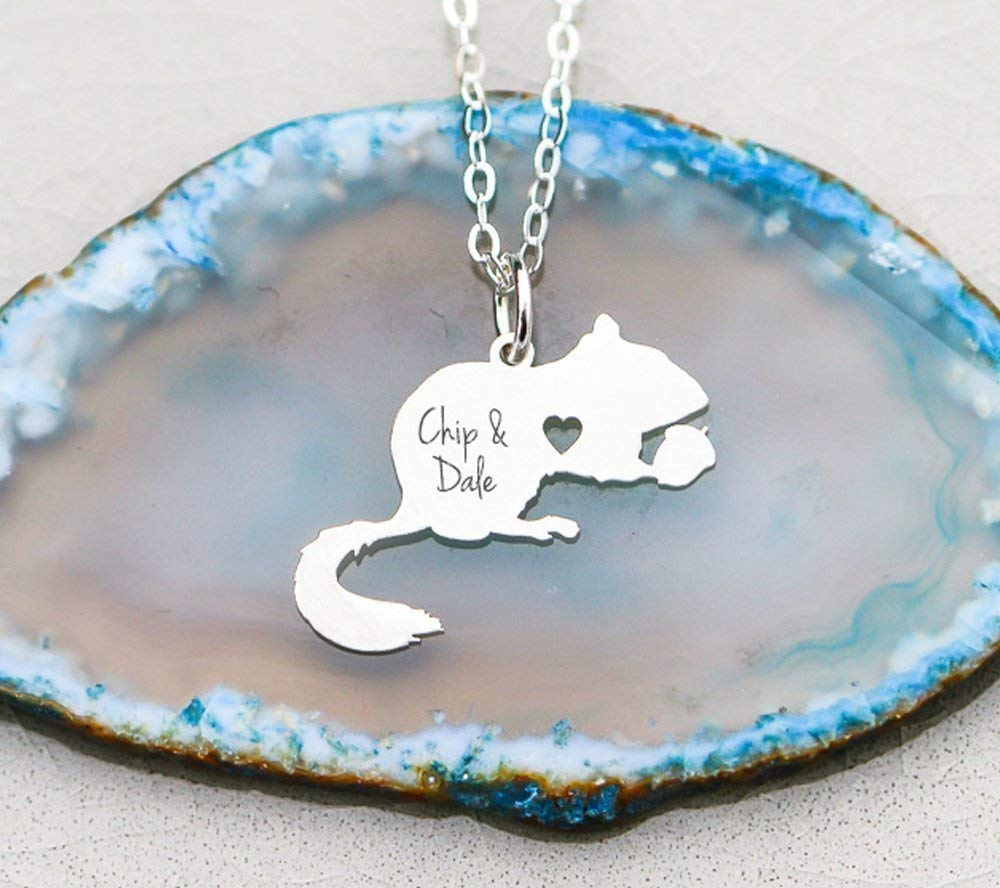 Chipmunk Necklace Squirrel Jewelry - IBD - Rodent Personalize Name - Choose Chain Length - Pendant Size Options - 935 Sterling Silver 14K Rose Gold Filled Charm - Ships in 1 Business Day