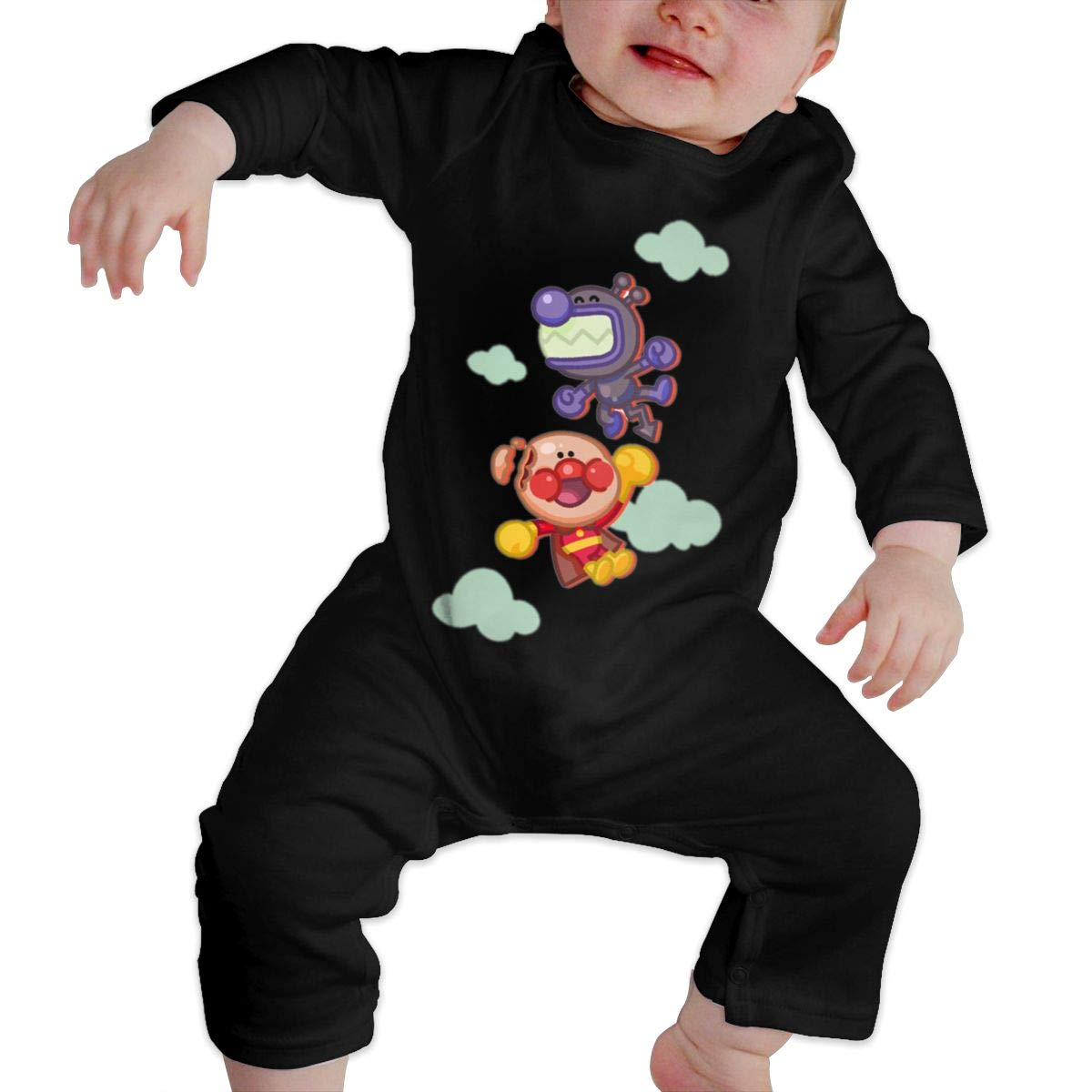 SININIDR Newborn Jumpsuit Infant Baby Girls Anpanman Long-Sleeve Bodysuit Playsuit Outfits Clothes Black