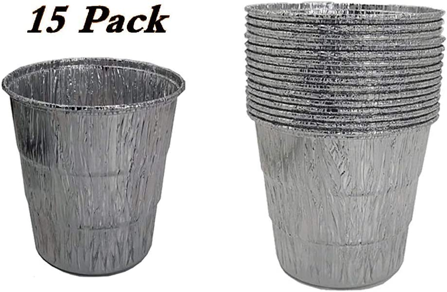 15-Pack Disposable Grease Bucket Liners Replace Part for Traeger Wood Pellet Grill & Oklahoma Joe's Smoker Grill, Silver