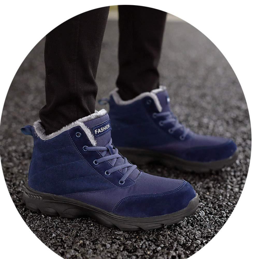 Bleu chaussures Chaussures Chaudes en Coton pour Hommes d'hiver, Bottes De Neige, Chaussures Hautes Tendance pour Hommes Et Bottes Courtes Confortables en Velours De Grande Taille