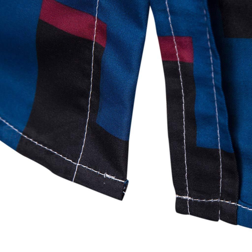 NUWFOR blusa de manga larga para hombre con estampado de cuadros y ...