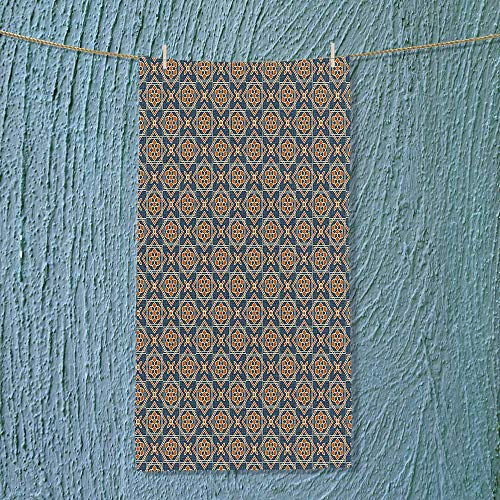 SOCOMIMI Microfiber Towel Daffodils Florets Delicate Features Arabian Style Yard Blooms Corsage Dark Blue Orange High Absorbency by SOCOMIMI