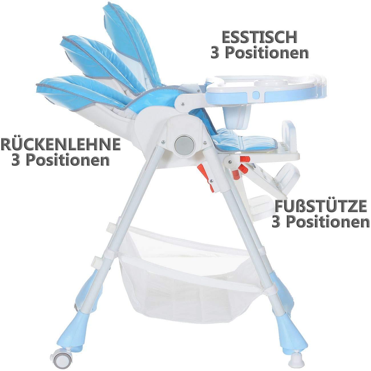 Kinderhochstuhl bis 20 kg Liegeposition H/öhenverstellbar Klappbar 5 Punkt-Gurt; Blau