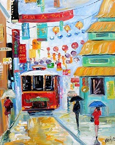 (Cityscape Art Print - San Francisco China Town Print - Karen Tarlton 8x10, 16x20)